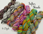 Softer Shade - 6 - 25  Mini Sock Skeins, 25 yds each, 150 yds total