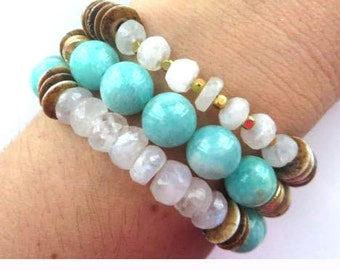 Faceted Rainbow Moonstone, Light Brown Ox Bone Flattened Disc Rondelle Stretch Bracelet/Boho Chic Bracelet/Yoga Bracelet