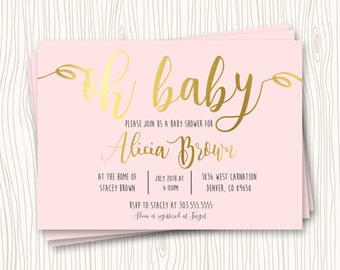 Custom Faux Gold Pink Blush Baby Shower Invitation - Any Color