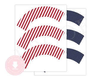 INSTANT DOWNLOAD Navy and Red Cupcake Wrappers (Baseball Birthday, Navy Cupcake Wrapper, Red Cupcake Wrapper, Printable Cupcake Wrappers)
