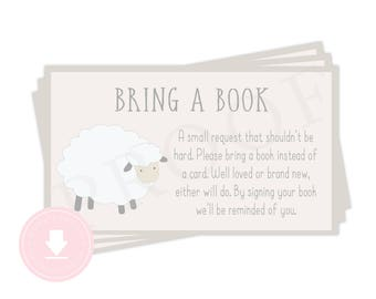 A Sweet Little Lamb Is On It's Way - Bring a Book Insert - 2x3.5  Baby Shower Card Insert - Lamb Baby Shower Printable