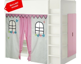 Pink Bed tent / Loft bed curtain  sc 1 st  Etsy : bunk bed tents and curtains - memphite.com