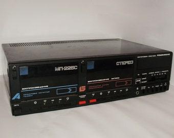 Double cassette deck Romantika MP-225S. Vintage USSR cassette player. Cassette recorder. Tape deck. Tape player. Cassette tape player.
