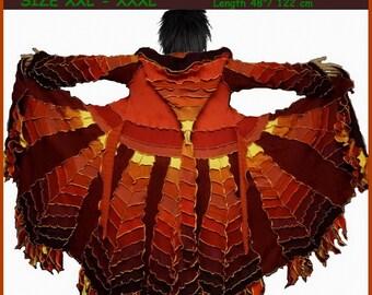 Elf coat,sweater coat, pixie coat, fairy dress, patchwork coat, gypsy coat, size XXL, Size XXXL