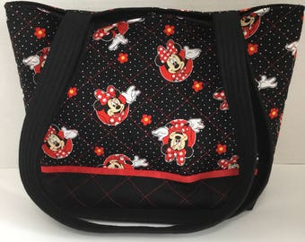 Minnie Mouse Quilted Tote - Quilted Tote - Market Bag - Shopping Bag - Shoulder Bag - NFL Tote - NHL Tote - Beach Bag