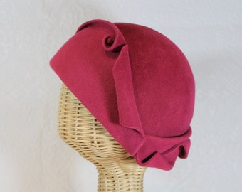 Cloche Hat in Raspberry Velour Felt ~ Cora ~ flapper style, gatsby, dinner party ~ handmade by Bonnet, your local Portland millinery