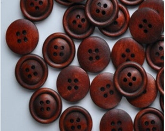 100 Pcs Small Shirt Clothing 4 Holes Wood Button 15mm=0.59inch