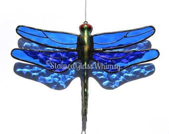 Stained Glass DRAGONFLY Suncatcher - Jewel Toned Cobalt Blue Wings, Cobblestone Texture, USA Handmade, Blue Dragonfly, Dragonfly Ornament