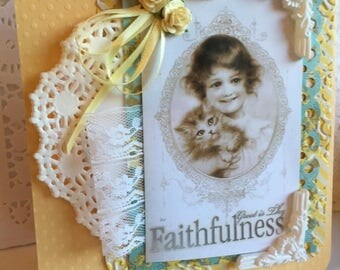 Faith Card~~~  Great Is Thy Faithfulness~~~ Child and Devoted Kitten~~~