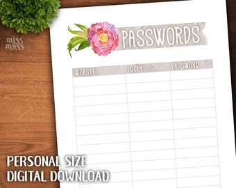 Printable Personal Size Password List || digital download planner printable erin condren happy planner filofax organizer to do lists