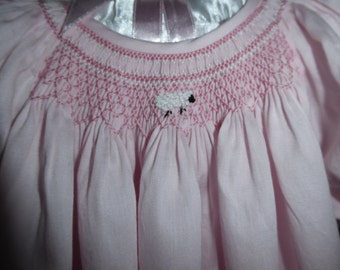 Hand Smocked Pink Daygown with Smocked Lamb