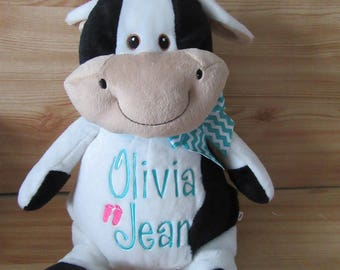 PERSONALIZED STUFFED ANIMAL. Stuffed Cow. Baby Shower Gift. New Baby Gift. Farm Animal. Monogrammed Stuffed Animal. Monthly Growth Chart.