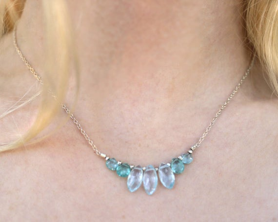 Topaz and Apatite Necklace, Teardrop Bar Necklace. Blue and Aqua. Marquize Gemstones. N-2351