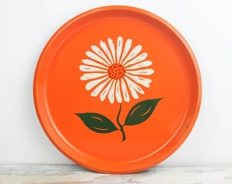 Vintage Orange Lacquer Tray w/ Daisy design, made in Japan