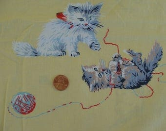 Vintage Children's Novelty Fabric - Cats, Dogs, Kittens, Puppies