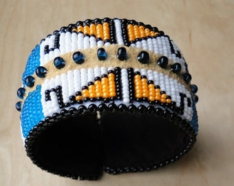 Beaded Slap Bracelet, Mountain and Lodge Design