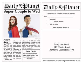 Printable Daily Planet Wedding Invitations and Reply Cards