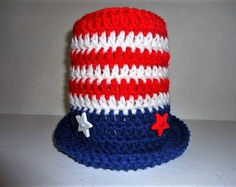 Red, White. & Blue Top Hat Patriotic Uncle Sam July 4th Baby Toddler Handmade Crochet Photo Prop