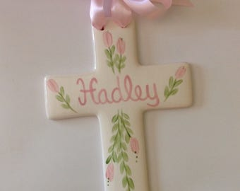 Hand painted  Personalized Baptism Christening First Communion Cross Baby Gift