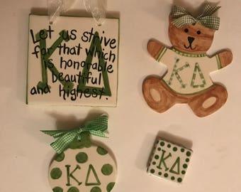 SALE!  Kappa Delta Package- ornament,  motto plaque, magnet