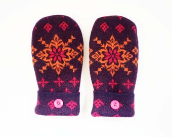 Purple and Orange Pattern Felted Wool Mittens