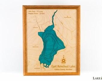 East Rosebud Lake in Carbon County Montana.  16x20 3D Wall Art