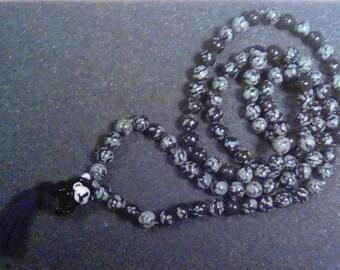 Snowflake Obsidian and lampworked glass Mala Buddhist prayer beads rosary 108 beads Mala Worry beads  Meditation.