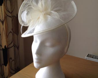 Ivory Cream Sinamay and Feather Fascinator Formal Hat, on a hairband  weddings, races, Ascot, Kentucky Derby,