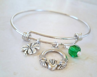 Irish Bracelet, Irish Charm Bracelet, Adjustable Bangle, Charm Bracelet, Claddagh Charm, Ireland Jewelry, Irish Jewelry, St Patricks Day