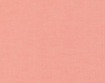 Cloud 9 Organic Cotton Fabric - Cirrus Solids - Coral - Broadcloth - Coral Fabric - Yard Dye Fabric