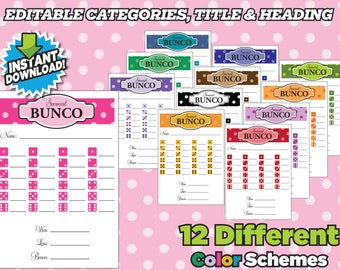 Bunco Score Cards Polka Dots - Instant Download Printable Cards - 12 Colors Schemes Bunko