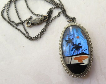 Butterfly Wing Necklace Double Sided Pendant Sterling Silver Chain Tropical Mountain Scenes Morpho Iridescent Art Deco 1940s