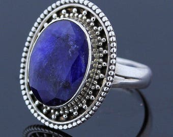 Handmade Blue Sapphire Ring - 925 Sterling Silver - Ring Size 8 Jewelry - R140