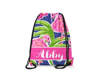 Personalized Drawstring Backpack - Flamingo - Personalized Kids Drawstring Bag