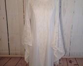 Vintage 70s white lace medieval bell sleeve nightgown - wedding - lingerie - Sheer - angel sleeve - nighty - floor length - Princess dress