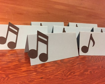 12 Music note place cards, birthday party place cards, Music notes name cards, baby shower place cards or food tents, Rock n Roll shower