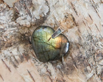 Labradorite heart pendant, green natural untreated labradorite, golden rainbow flash spectrolite stone, sterling silver necklace