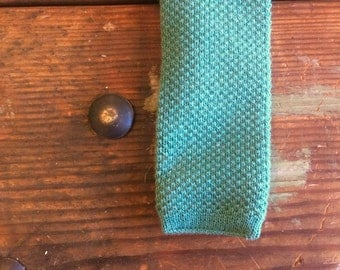 Vintage Square End Green Knit Tie Mens