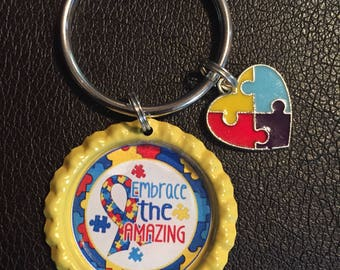 Autism Awareness Bottle Cap Keychain