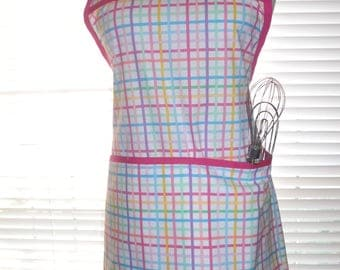 Cooking Apron, Chefs Apron, Kitchen Apron, Pretty Multicolor Plaid on White, Adjustable Strap, Two Deep Pockets
