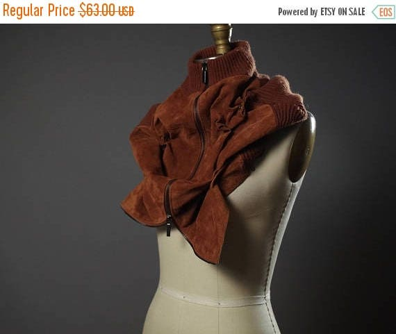 SUMMER SALE Repurposed Leather Scarf Cowl - Chunky Neck Warmer - Zippered Suede Cowl - Unisex Leather Accessories