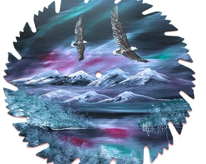 Hand Painted Saw Blade Mountain Northern Lights Eagles