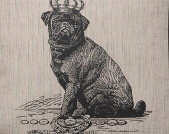 Vintage Pug Wearing Crown Print  Decoupaged on Wood