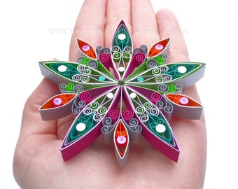 Christmas decoration, Eco-friendly, quilled - Large
