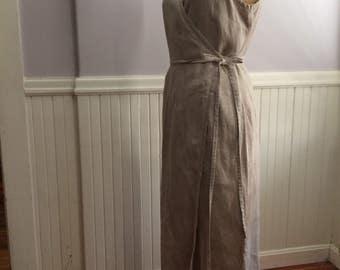 Women's Vintage Clothing /Vintage Gap Natural Linen Dress / Summer Attire / Long Linen Dress