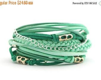 Mothers Day Color of the 2017 GREENERY Mint Emerald Boho Wrap Bracelet, Teal Arctic Bracelet, Hippie Gypsy Style Bracelet, Mothers day gift,
