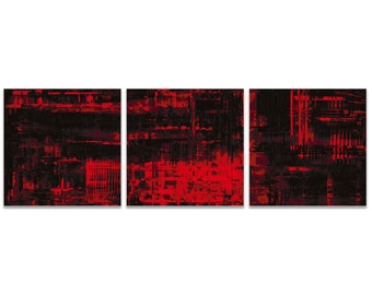 Red Metal Art 'Aporia Red Triptych' by Nicholas Yust - Urban Artwork Abstract Wall Art on Metal or Acrylic