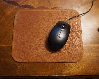 Russet and Dark Brown Reversible Leather Mouse Pad