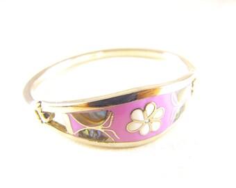 Vintage Bracelet Sterling Mexico Abalone Inlay Lavender Enamel Flower Petite or Child Size