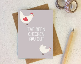 Funny Love Card 'I've Been Chicken You Out' - chicken card - chicken lover card - funny love card - valentine's day card for her - uk